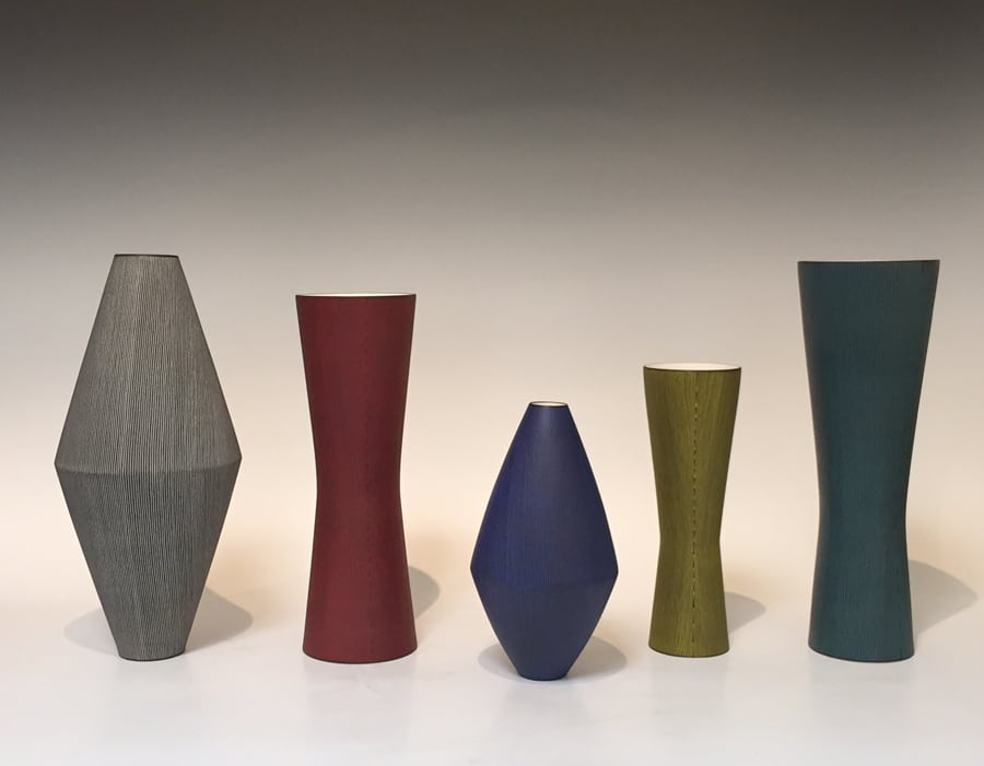"""Five Porcelain Vessels by Masaru Nakada (from 8"""" to 17"""")"""