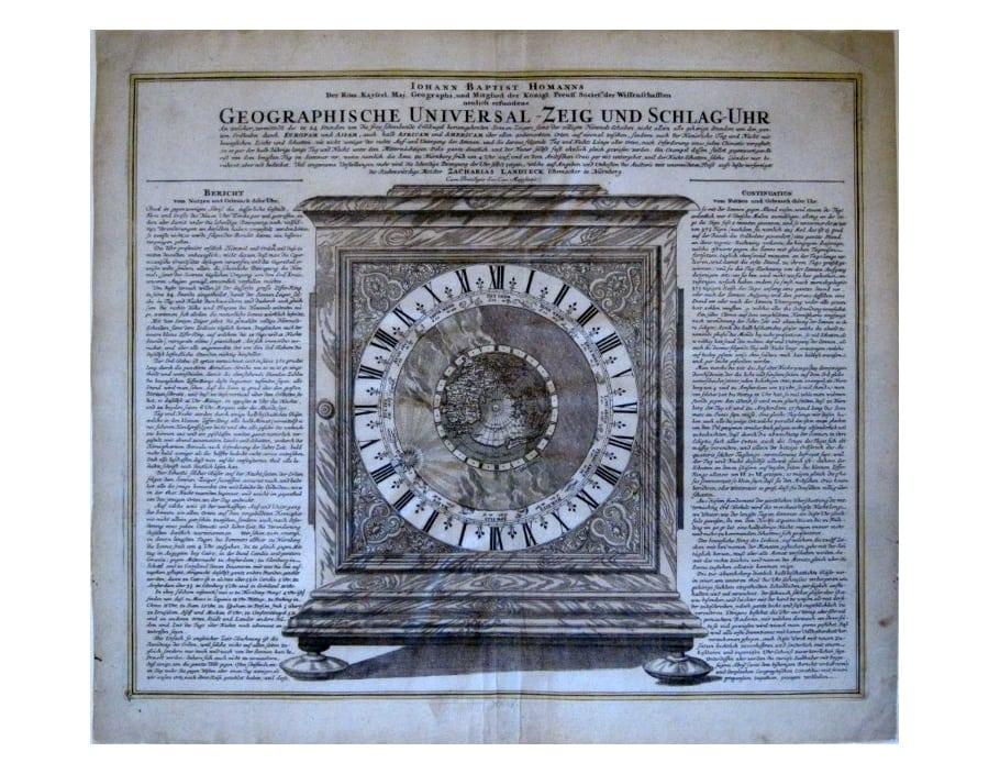 """Johann Baptist Homann. \""""Geographische Universal-Zeig und Schlag-Uhr.\"""" Nuremberg: J.B. Homann, ca. 1730. 19 x 22 1/2. Engraving. Original color. Very good condition."""